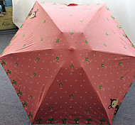 Fresh Deer Ultralight Mini Flat Mobile Phone Umbrella Vinyl Uv Sunscreen Super Sunny Umbrella Five Folding Pocket