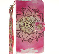 Painted Pink Flowers Pattern Card Can Lanyard PU Phone Case For Samsung Galaxy Note 4 5 7