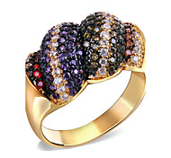 Rainbow Design Women Deluxe Engagement Rings Cubic Zirconia 140 Pieces 18K Gold Plated Lead Free Low Cadmium