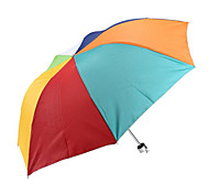 Korea Creative Portable Triple Rainbow Umbrella Silver Plastic Umbrellas