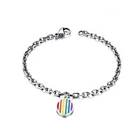 Chain Bracelets Rainbow 1pc,Silver Bracelet Personality Love Titanium Steel Jewelry Gift for Christmas