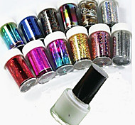 12 Bottles of +1 Bottle of Glue Paper Stars Manicure Star Sticker Set