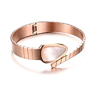Women's Fashion Personality Shell Material Stainless Steel IP Rose Gold Plating Cuff Bracelets(1pc)