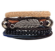 Unisex Fashion Jewelry Gift Alloy Leaf Handmade Adjustable Strand Wristband Leather Bracelet Casual/Daily Women Men