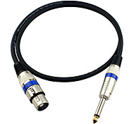JSJ® 3-Pin XLR Female to 6.35mm Single Channel Male Microphone Audio Cable (OD6.0mm 1.5m/5FT)