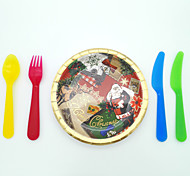 Christmas tipping paper plates six gold foil Christmas gift