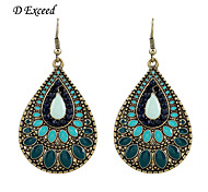 D Exceed Womens Vintage Retro Teal Enamel Crystal Teardrop Pendant Fishhook Back Earrings