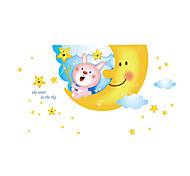 Wall Stickers Wall Decals Style Baiyun Night Moon Rabbit Stars PVC Wall Stickers
