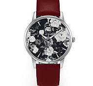 Louis Silver Case Flower Dial Brown Leather Strap Watch