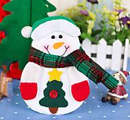 4pcs faca boneco de neve e sacos de garfo decorações da tabela do Natal
