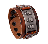 Unisex Fashion Jewelry Rock Punk Style Adjustable Genuine Leather Bracelet Casual/Daily Gift Women Men Accessories
