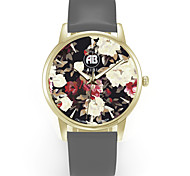 Louis Golden Case Colorful Flower Dial Grey Leather Strap Watch