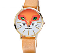 Women's Fashion Quartz Casual Watch Leather Belt Round Alloy Dial Fox Face Simple Watch Cool Watch Unique Watch