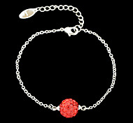 Siver Plated Red Imitation Crystal Ball Chain Bracelets