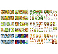 12 Cartoon Nail Designs Watermark Tip Full Wraps Water Transfer Sticker Nail Art Decals Girl Beauty Care Tools BN325-336
