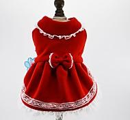 Коты Собаки Платья Одежда для собак Зима Весна/осень Бант Милые Праздник Мода Красный Синий