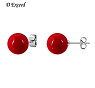 D Exceed Fashion Accessories Earring Pearl Size 12mm Stud EarringSet Red Pearl Earrings for Women