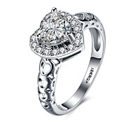 lureme 18kRPG Cubic Zirconia Heart Annulus Engagement Hollow Band Ring