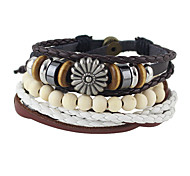 Punk Design Multilayers Beads Pu Leather Braided Bracelets