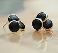 Earring / Circle Earring Back / Stud Earrings Jewelry Women Fashion Casual Alloy 1 pair Black / White Other