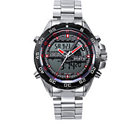 Masculino Relógio Esportivo Digital / Quartzo Japonês LED / Calendário / Impermeável / alarme / Luminoso Aço Inoxidável Banda Pendente