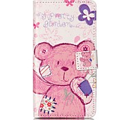 For Sony XP M4 Case Cover Pudding Bear Pattern Painting Card Stent PU Leather Phone Case