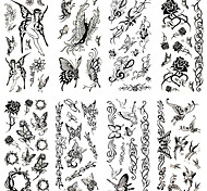 16 Designs Waterproof Temporary Tattoos Sticker Black Tattoo for Body Accessories 24cm*9.5cm (Assorted Pattern)