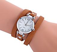 Women's Fashion Watch Bracelet Watch Casual Watch / Quartz PU Band Cool Casual Black Red Brown Green Beige Strap Watch