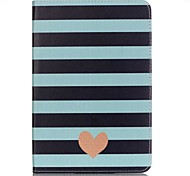 Full Body Card Holder / Wallet Black Stripe Heart PU Leather Hard Case Cover For Apple iPad Mini 4 / iPad Mini 3/2/1