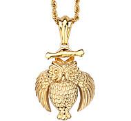 Муж. Женский Ожерелья с подвесками Сова Нержавеющая сталь 18K золото По заказу покупателя Бижутерия Назначение Повседневные