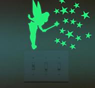 Романтика Наклейки Светящиеся наклейки Наклейки для выключателя света,PVC материал Съемная Украшение дома Наклейка на стену