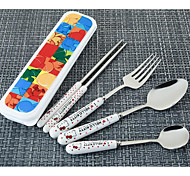 Stainless Steel Ceramic Handle Portable Travel Cutlery Set 4 Free With 304 Fork