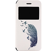 Feather Pattern Fenestration PU Material Phone Flip Case with Window for iPhone 7 7 Plus