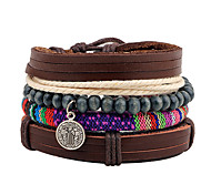 Unisex Fashion Jewelry Gift Alloy Handmade Adjustable Strand Wristband Leather Bracelet Casual/Daily Women Men