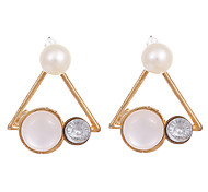 New Fashion 2016 Fine Jewelry Gold Plated Metal Triangle Simulated Pearl Stud Earrings Opal Earrings for Women Party