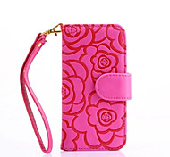 Camellia Pattern PU Leather Material Emboss Case for iPhone 7 7 Plus 6s 6 Plus SE 5s 5