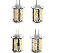 4PCS G4 18LED SMD5050 300-400LM Warm White/White Decorative DC12V  LED Bi-pin Lights