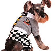 Fashion Preppy Style Gird Design Jumpsuit for Pets Males Dogs (Assorted Size)