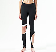 Yoga Pants Tights Breathable / Quick Dry / Sweat-wicking / Comfortable Natural Stretchy Sports Wear Yellow / White