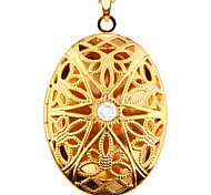 New Vintage Oval Locket Hollow-out Jewelry 18k Gold Plating Put in Solid Perfume or Pictures Necklace & Pendant P30029