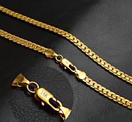 Муж. Жен. Ожерелья-цепочки Круглый Золотистый 18K золото Мода Классика По заказу покупателя Бижутерия Назначение Свадьба Для вечеринок