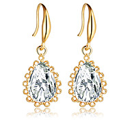 Fashion Gold Silver Plated Crystal Water Drop Earrings for Women Vintage Flower Wedding Party Jewelry Dangle Earrings