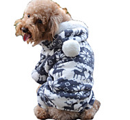 Classic Deers Pattern Warm Fleece Jumpsuits for Pets Dogs (Assorted Sizes)