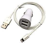 fcc ce carga del coche certificada 1a / 2.1a doble salida + IMF manzana cable falt rayo certificado para el iphone 6 ipad iPod