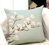 Small Fresh Retro Hand-Painted Magnolia Flax Linen Pillow Car Sofa Cushion Covers Software Installed