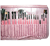 22 Makeup Brushes Set Goat Hair Portable Wood Face G.R.C