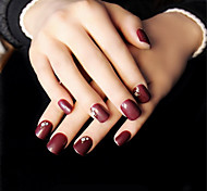 Women Love Deep Wine Red Brief Paragraph Nail Strips Elegant And Sexy Intellectual Maturity 1Set