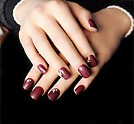 24pcs женщины любят глубокий красный цвет вина кратко параграф ногтей полосы элегантные и сексуальные интеллектуальной зрелости 1set