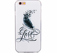 For iPhone 7 Case / iPhone 6 Case / iPhone 5 Case Ultra-thin / Pattern Case Back Cover Case Feathers Soft TPU AppleiPhone 7 Plus / iPhone