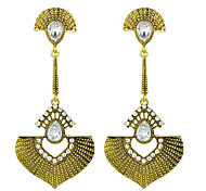 Antique Style Rhinestone Big Drop Earrings